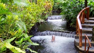 In the hot springs at Tabacon , Costa Rica
