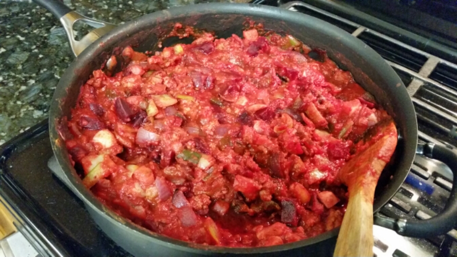Pasta sauce made from scratch with roasted veggies