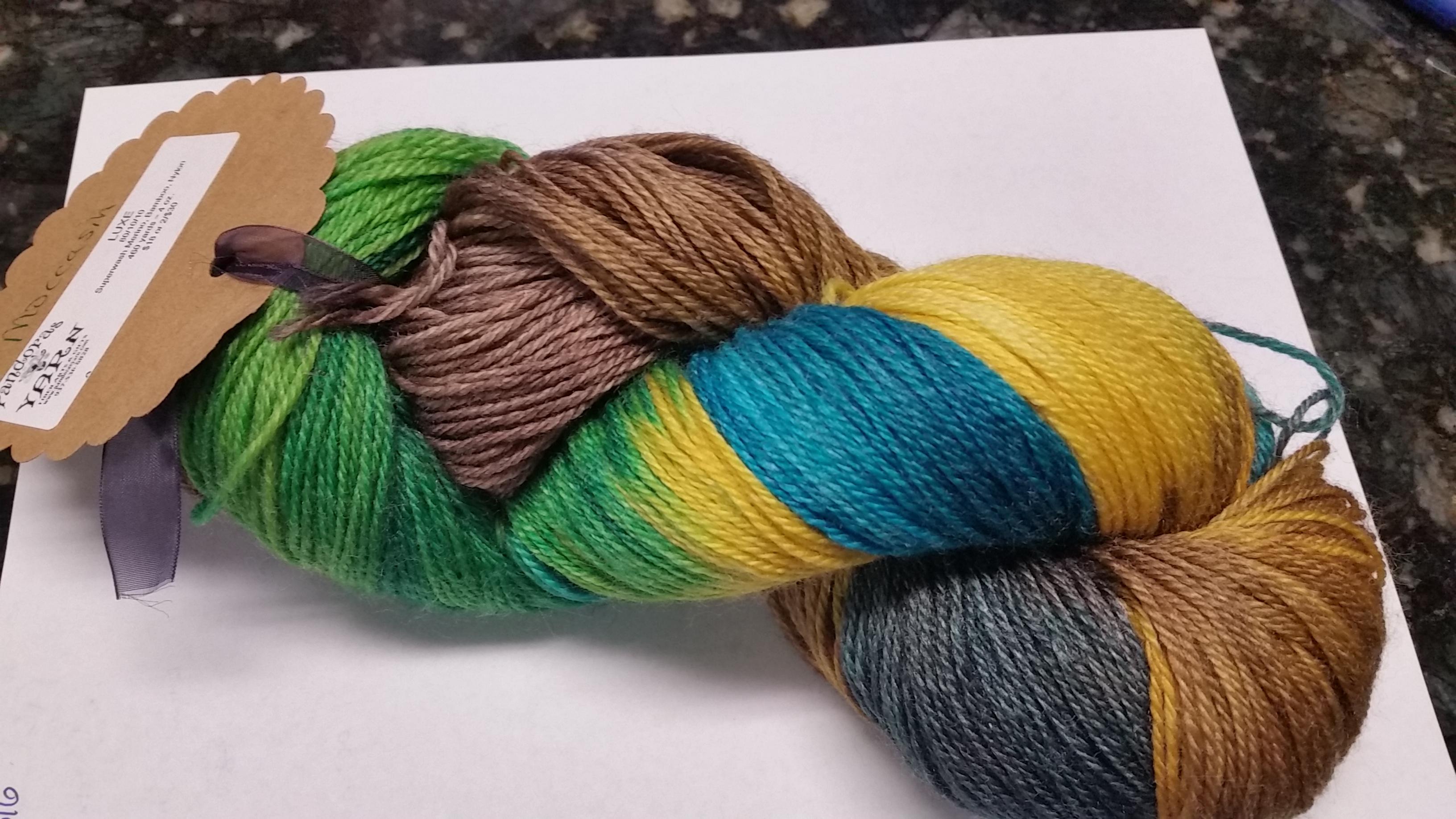 Pandora's Yarn Luxe sock yarn in Moccasin