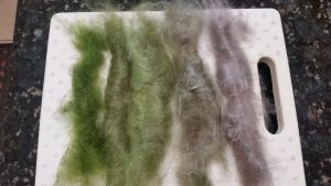 Gradient Rolags with dyed and undyed yak/silk blend