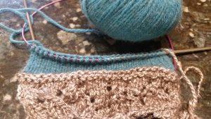 Swatch with possum yarn and yak/silk blend handspun