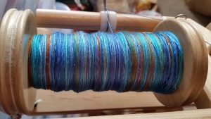 Spun New Blue Bombyx Silk yarn