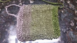 Yak/Silk Gradient with Undyed fiber and Alfalfa Green