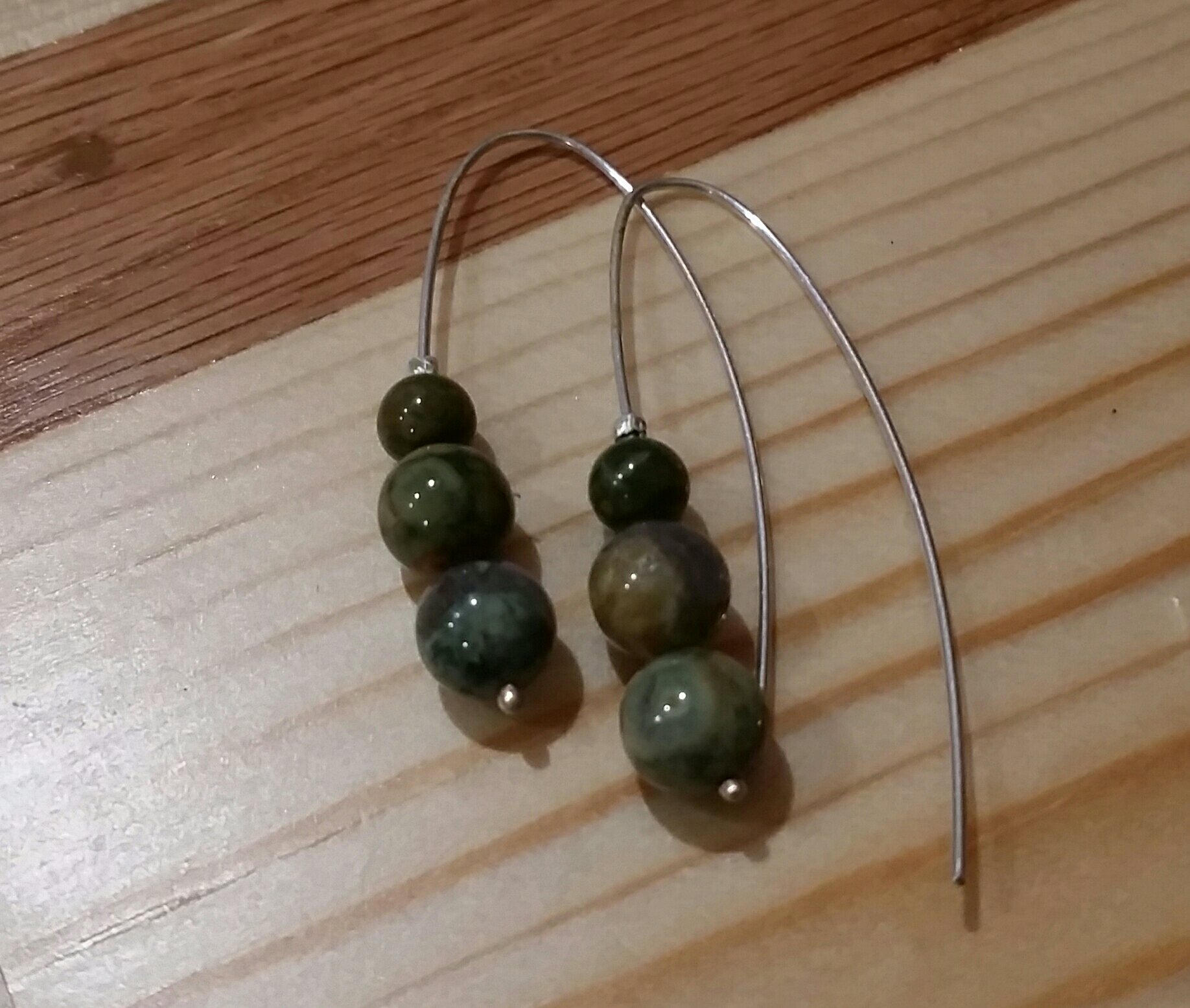 Simple Earrings with Moss Agate