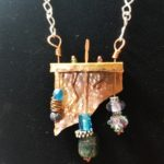 Copper and Glass Bead Shelf Pendant