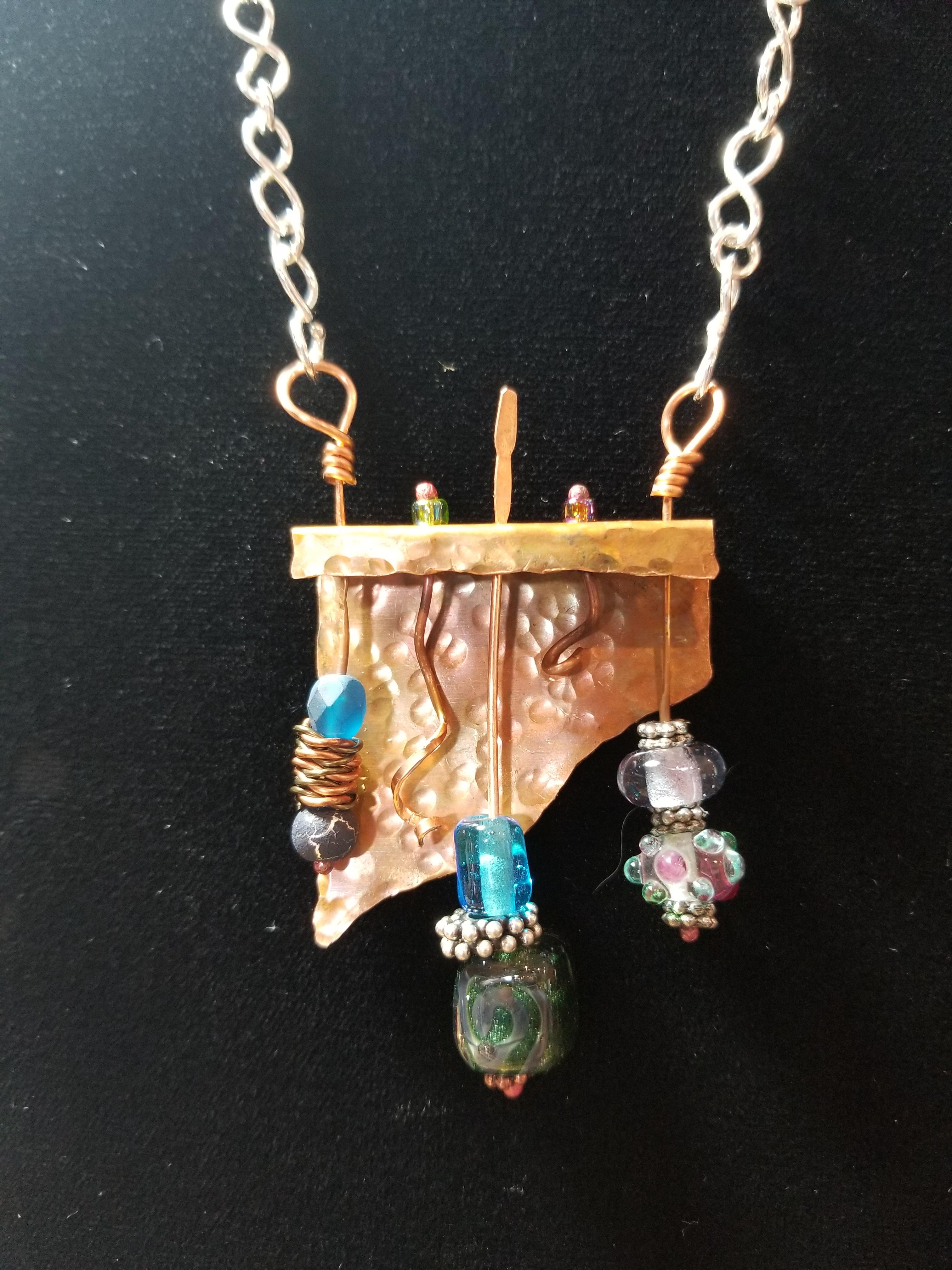 Copper and Glass Bead Shelf Pendant